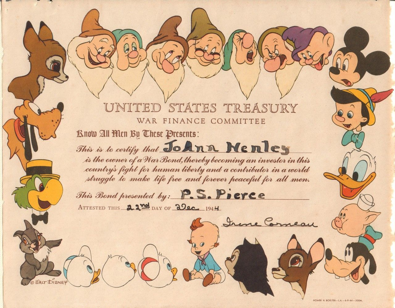 United states treasury war finance committee cert circa 1944 walt disney war bond certificate schwan a colorful certificate adorned with many popular disney characters 1betcityfo Choice Image