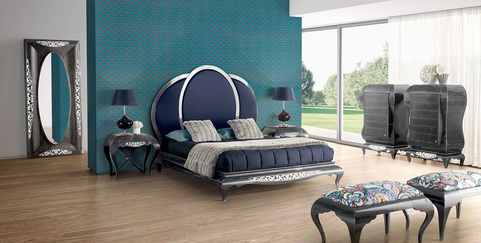 Double Bed New Baroque Design With Upholstered Headboard New  # Muebles Jetclass