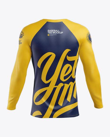 Download Men S Baseball T Shirt With Long Sleeves Mockup Back View In Apparel Mockups On Yellow Images Object Mockups Shirt Mockup Clothing Mockup Tshirt Mockup