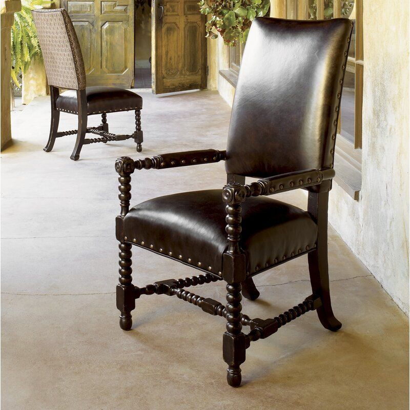 Kingstown Edwards Genuine Leather Upholstered Arm Chair In 2021 Upholstered Arm Chair Tommy Bahama Home Upholstered Dining Chairs