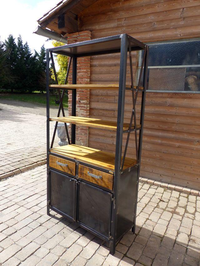 création sur mesure meuble bois métal étagère bibliothèque 2 tiroirs 2 portes