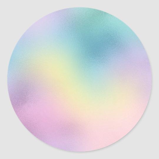 Cute Unicorn Rainbow Foil Holographic Chic Pastel Classic Round Sticker Zazzle Com In 2021 Rainbow Foils Holographic Foil Cute Unicorn