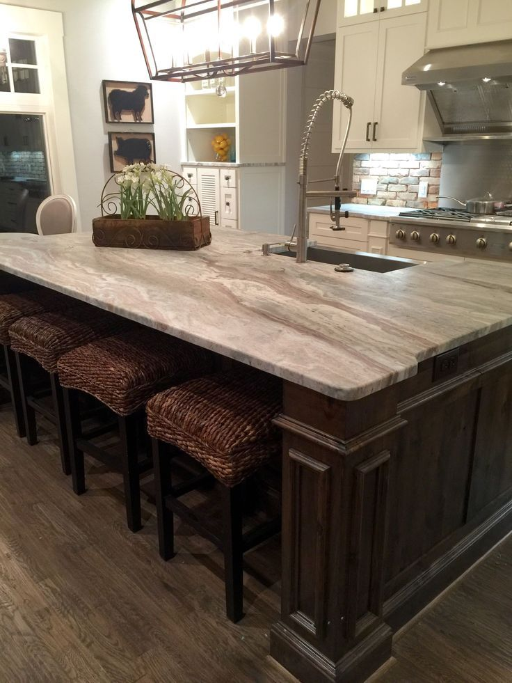 transitional farmhouse with leathered granite fantasy brown color stained island with on farmhouse kitchen granite countertops id=34420