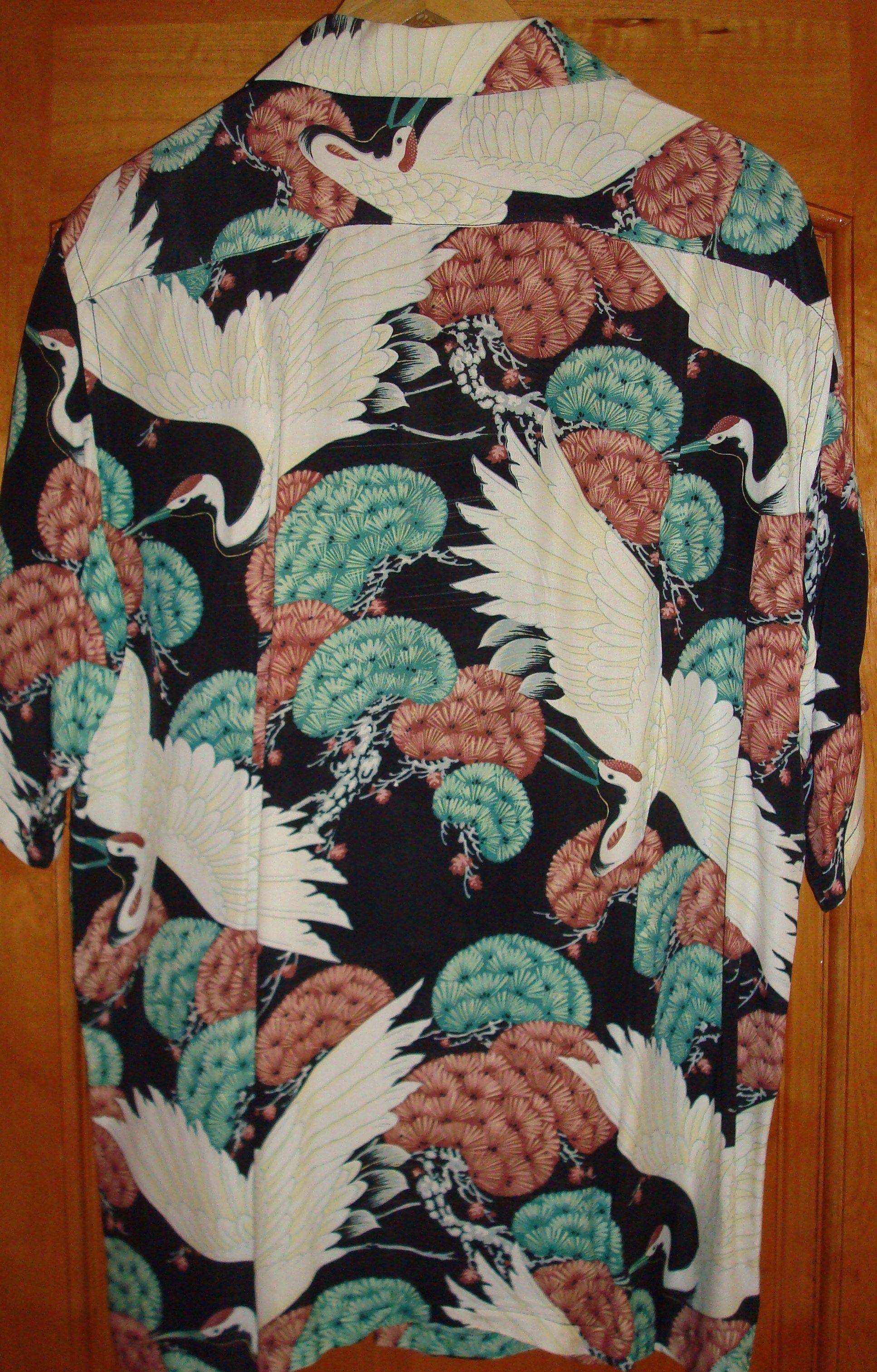 c4e7d9846 Andrade - Vintage 40s Rayon Swan Crane Hawaiian Aloha Shirt -  TheHanaShirtCo #bowlingshirts