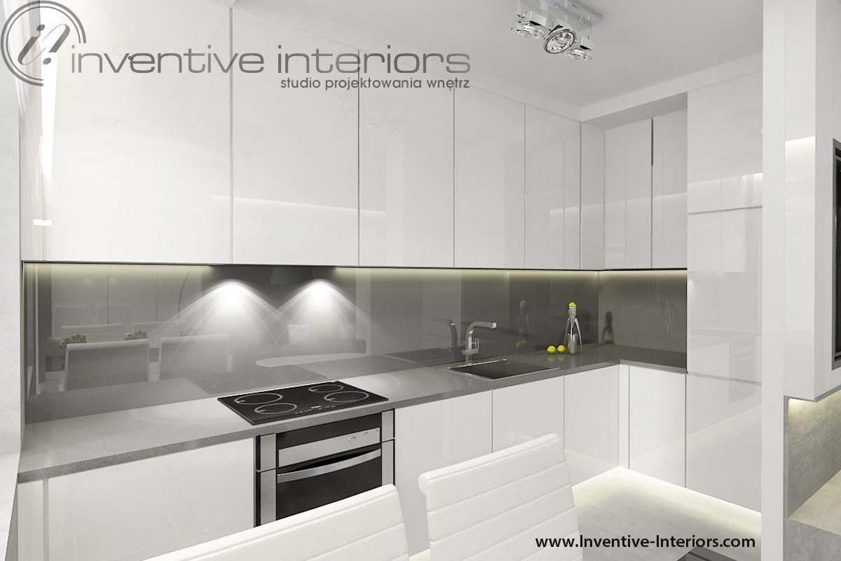 Projekt Kuchni Inventive Interiors Biała Kuchnia Z Szarym Blatem I