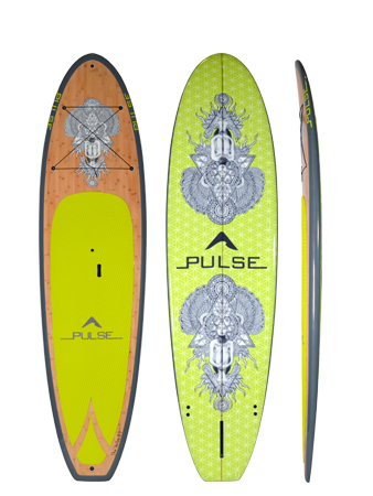 PULSE 'SUTRA' low-weight, high strength, high-quality epoxy-fiberglass sup board. Express yourself with bold colours and imaginative graphic designs from PULSE