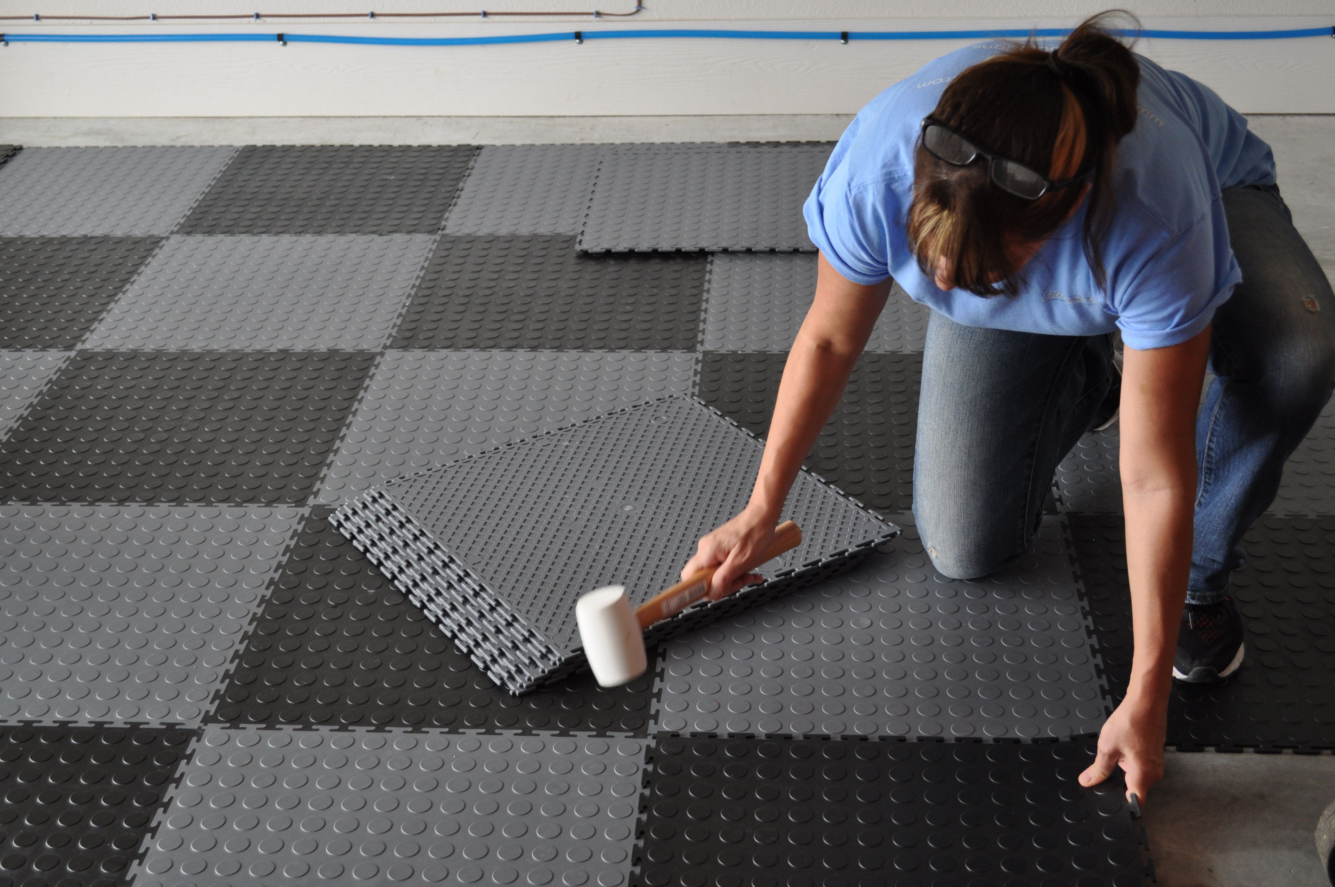 Coin Pattern Flexible Interlocking Tiles Loose Lay No Adhesive