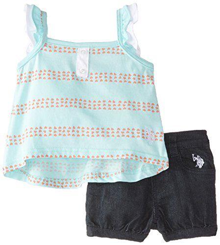Us Polo Assn Babygirls Newborn Flutter Sleeve Top And Denim Short