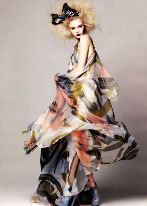 Beautiful printed silk maxi dress - colourful, abstract fashion prints; pattern fashion // Elie Saab