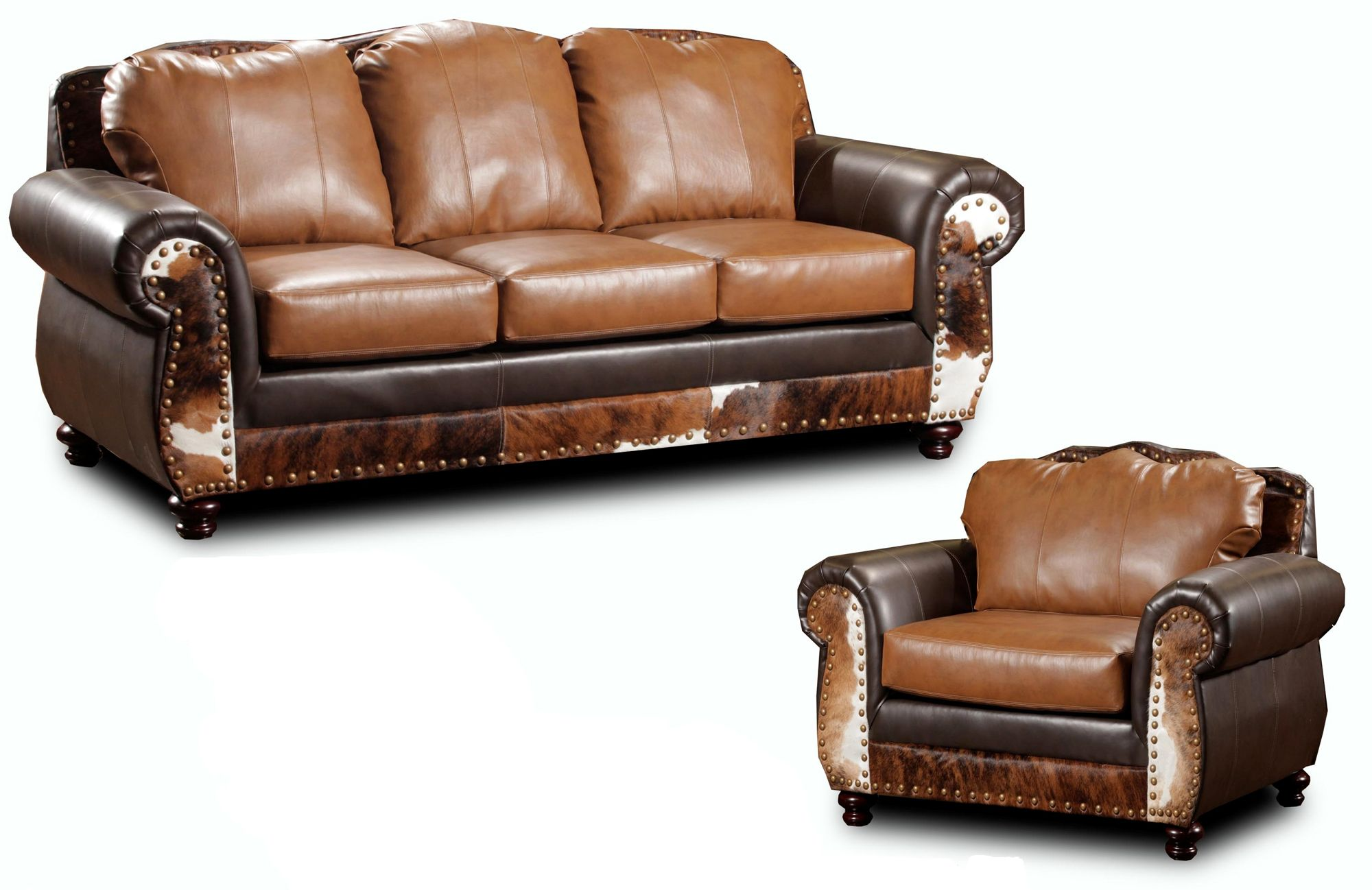Rustic Leather Furniture | Denver Rustic Lodge Leather Sofa And Chair   155869/155834