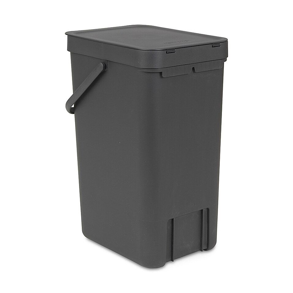 Brabantia Sort & Go Plastic Trash Can In Grey - Compact, space-saving and ideal for waste separation, the Brabantia Sort & Go Plastic Trash can can be wall mounted or freestanding on the floor. This stylish bin holds trash, bottles or can and has a large handle for easy carrying.