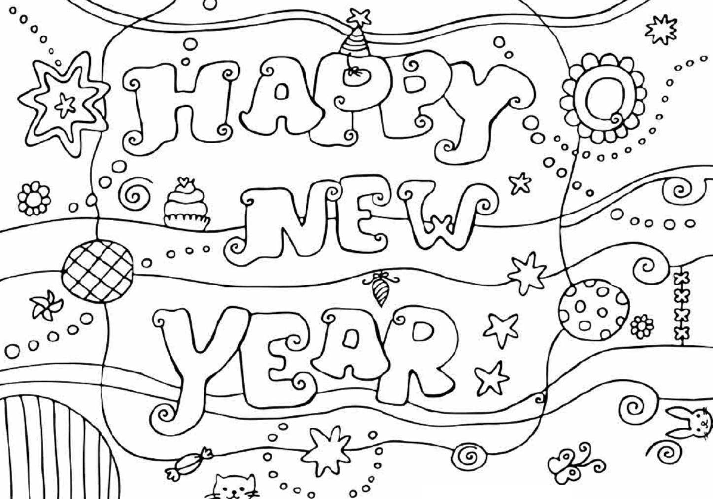 Happy New Year 2015 Coloring Page Free Wallpaper Esl Kids