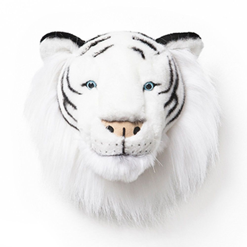 Kids White Tiger Plush Animal Head Wall Decor Tasarim