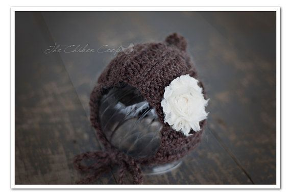 Newborn Knit Ribbed Bonnet with Flower by TheChikenCoop on Etsy, $12.00