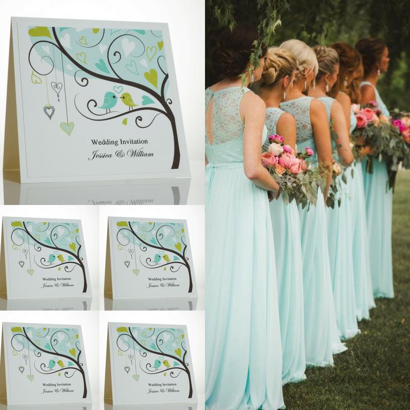 Tiffany Blue. Lovebird Wedding Invitations.