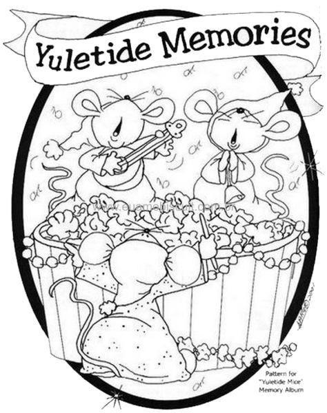 Cute Christmas Coloring - Carollers - Mice -  Yuletide Memories  (474 x 600)