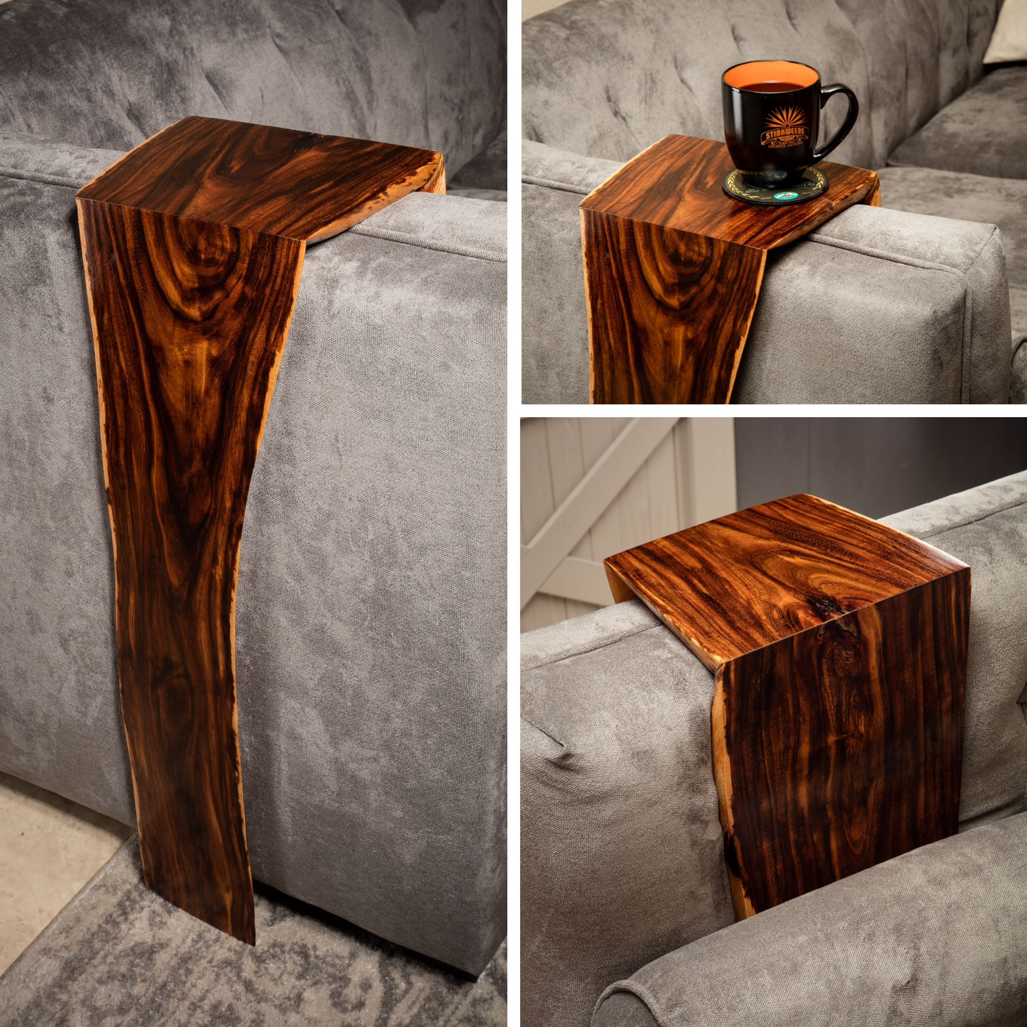 I Just Recently Finished This Piece Folded Wood Couch Wrap Table Made From Reclaimed Black Acacia With Miter J Wood Slab Table Raw Furniture Arm Rest Table