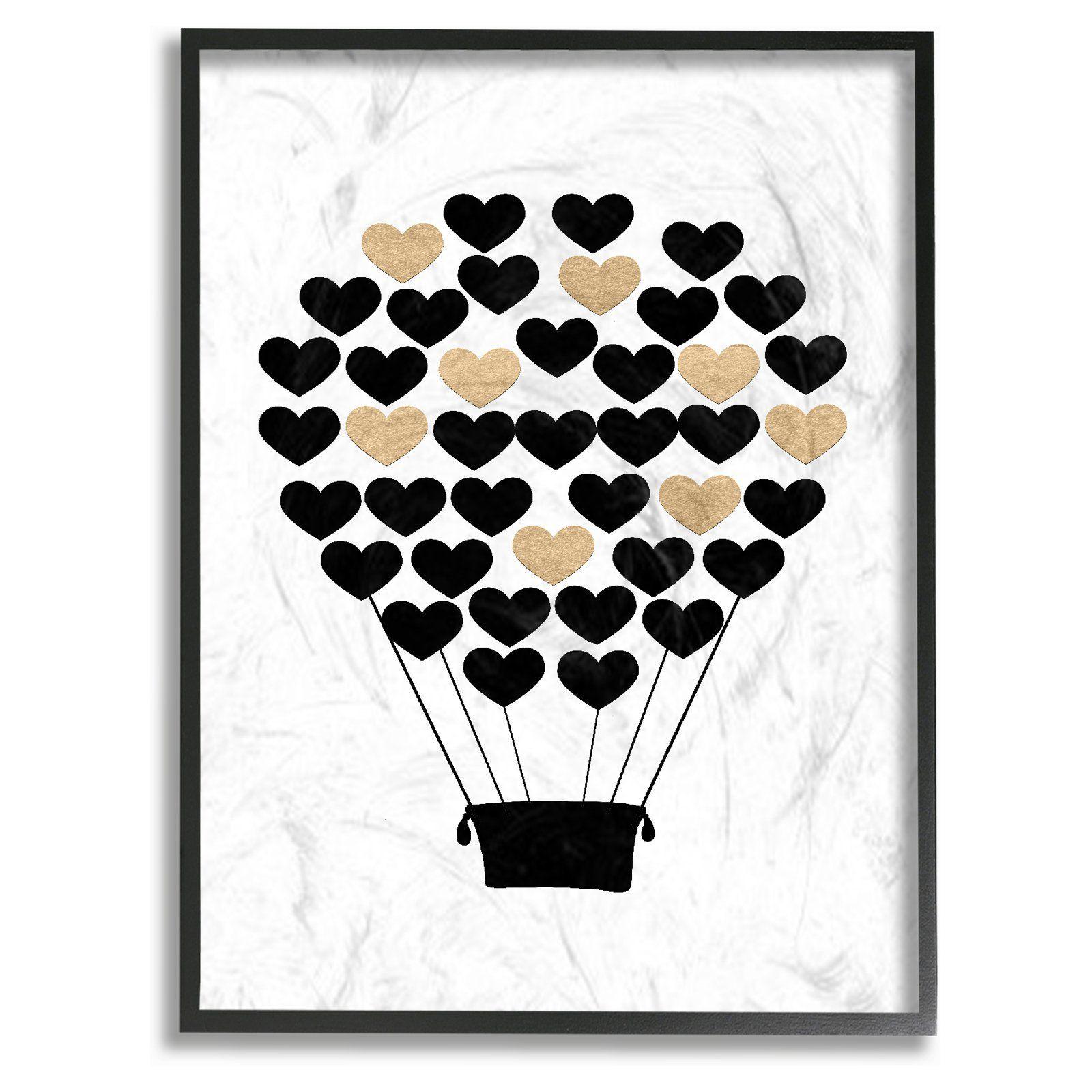 Stupell decor black and gold heart hot air balloon framed giclee
