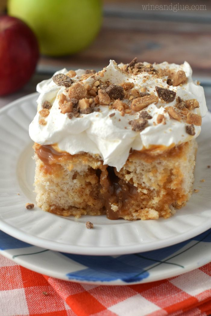 Caramel Apple Poke Cake That Is Easy To Make But Super Addictive