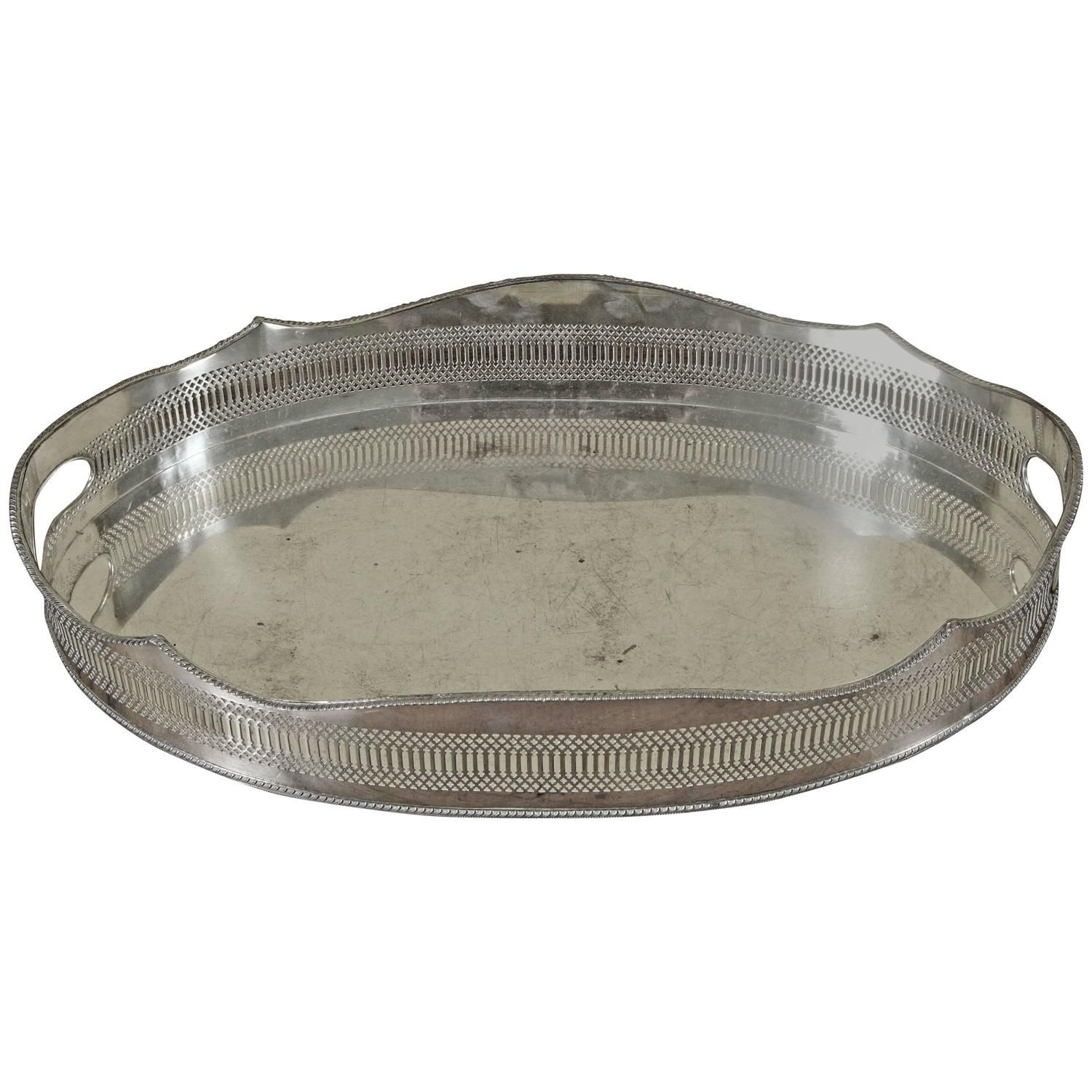 A Large Oval Early Sheffield Silver Gallery Tray With Hand