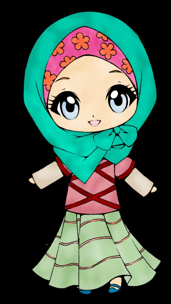 cute muslimah Kartun, Gadis sekolah anime, Chibi