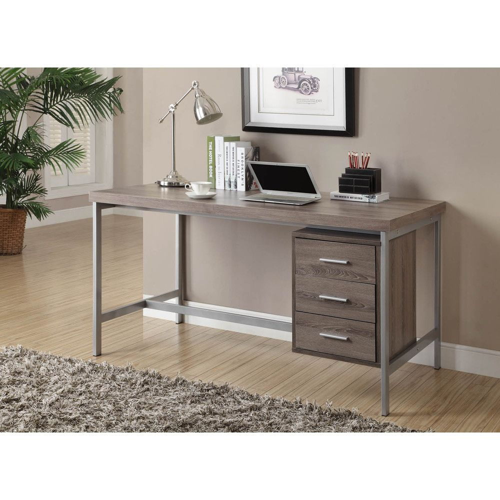 Dark Taupe Reclaimed Look Silver Metal Office Desk Ping The Best Deals On Desks