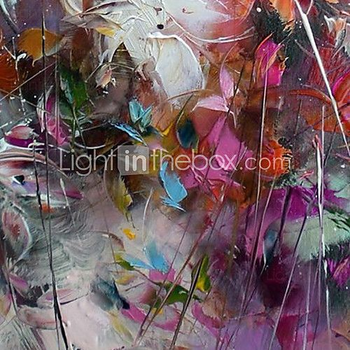 Oil Paintings Modern Abstract Colorful Leaves Hand-painted Canvas Ready to Hang - USD $ 44.99