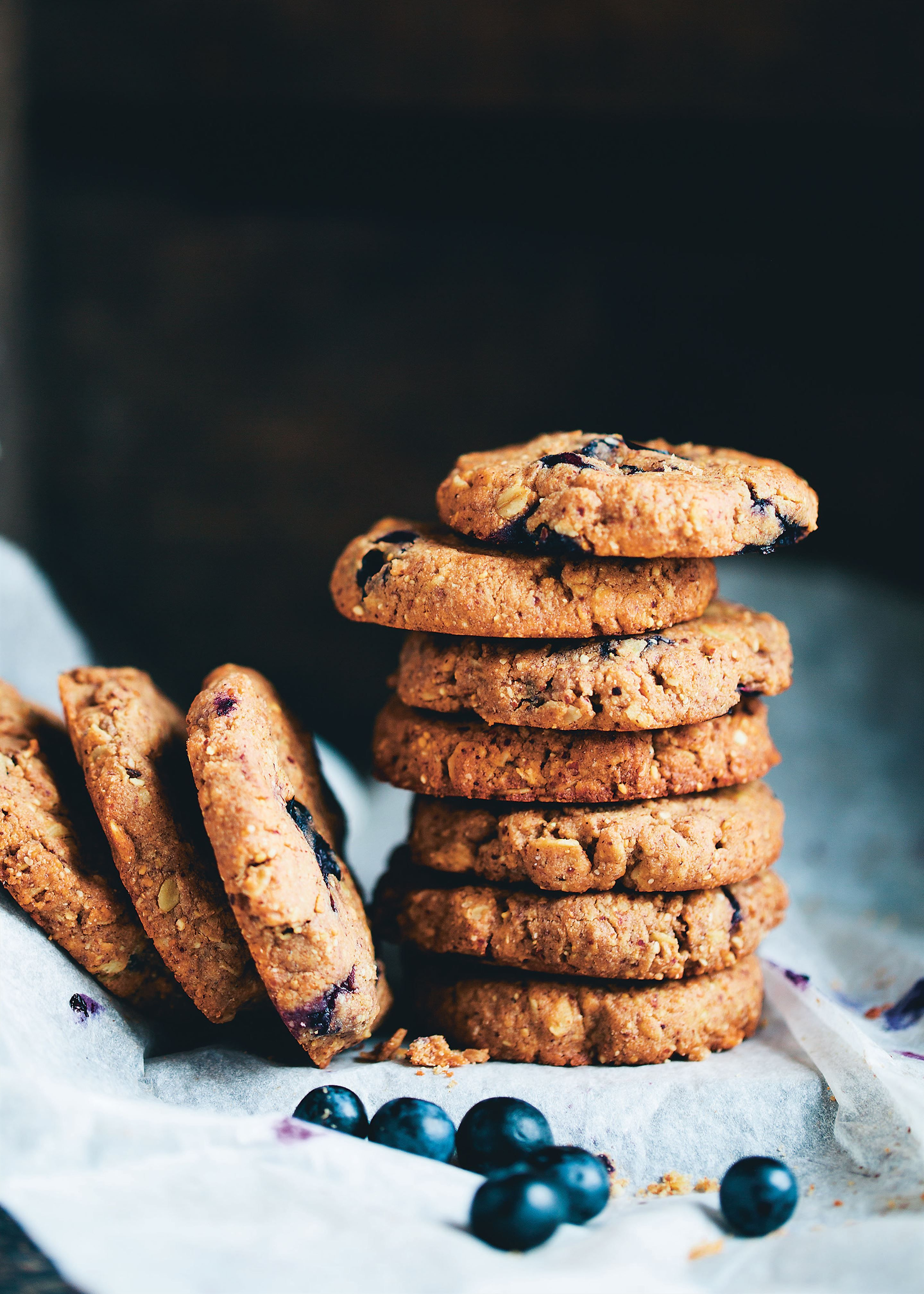 Almond butter blueberry cookies recipe from Green Kitchen Travels by David Frenkiel | Cooked