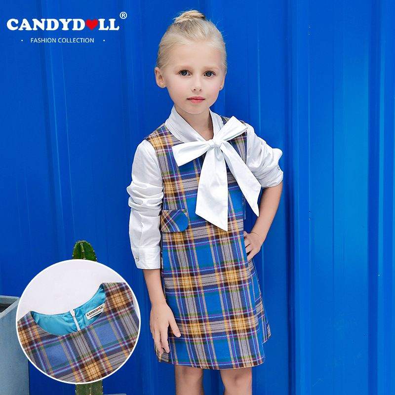 24fab1ccca2 Candydoll 2017 Children Girls Dresses Summer Cotton Fashion Plaid Dresses  Baby Girls Sleeveless Princess Dresses 3