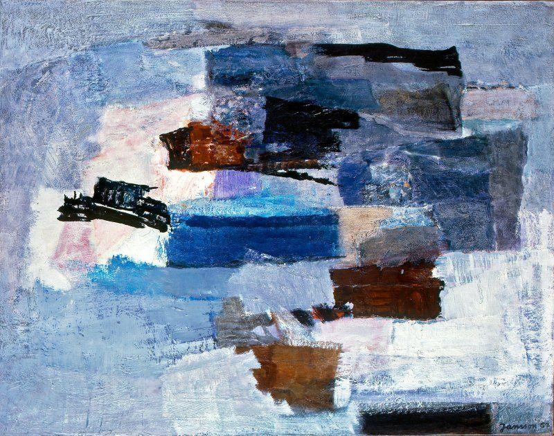 """KUVA 6 """"Suomenlinna"""", 1967. Öljy. 1960-luvun loppupuolella Tove Jansson siirtyi maalauksissaan abstraktiin ilmaisuun. Meren aallot ja jäiden lähtö olivat useiden sommitelmien aiheita. Yksityiskokoelma. Kuva: Jari Kuusenaho"""