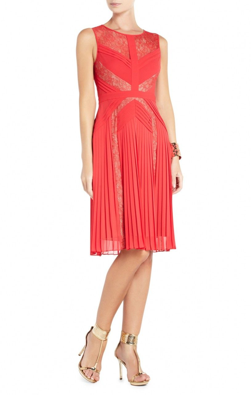 fec80987ad1 CHEAP FASHION BCBGMAXAZRIA Raya Red Pleated Lace Cocktail Dress - Click  Image to Close