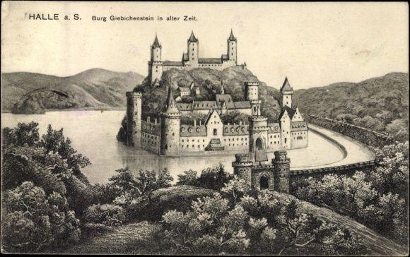 Kunstler Ansichtskarte Postkarte Halle Saale Burg Giebichenstein Mit Graben Halle Saale Burg Halle