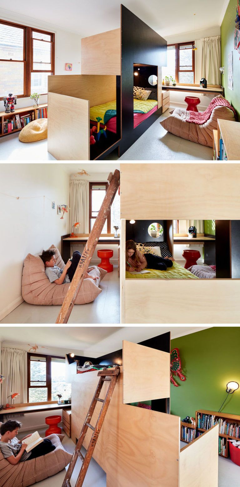 Loft bed ideas for small rooms  This Custom Bunk Bed Splits The Room In Two To Give Each Child Their