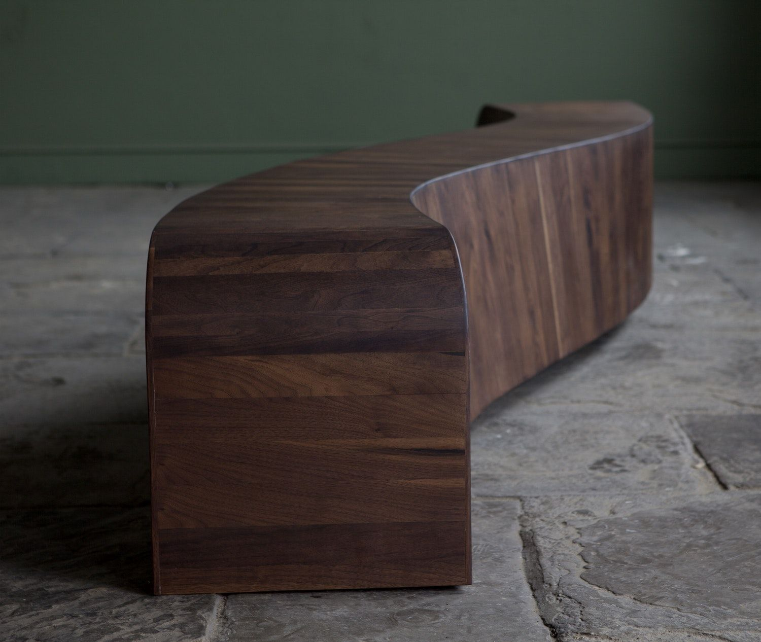 Curved Gallery Bench In American Black Walnut Timber Outdoor