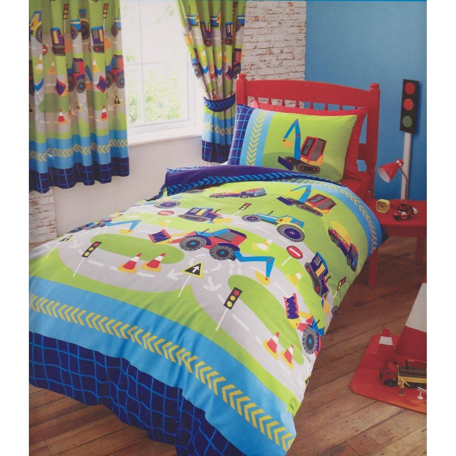 Childrens Boys S Double Bed Duvet Set New Diggers Bedding Quilt Cover Navy Blue Green
