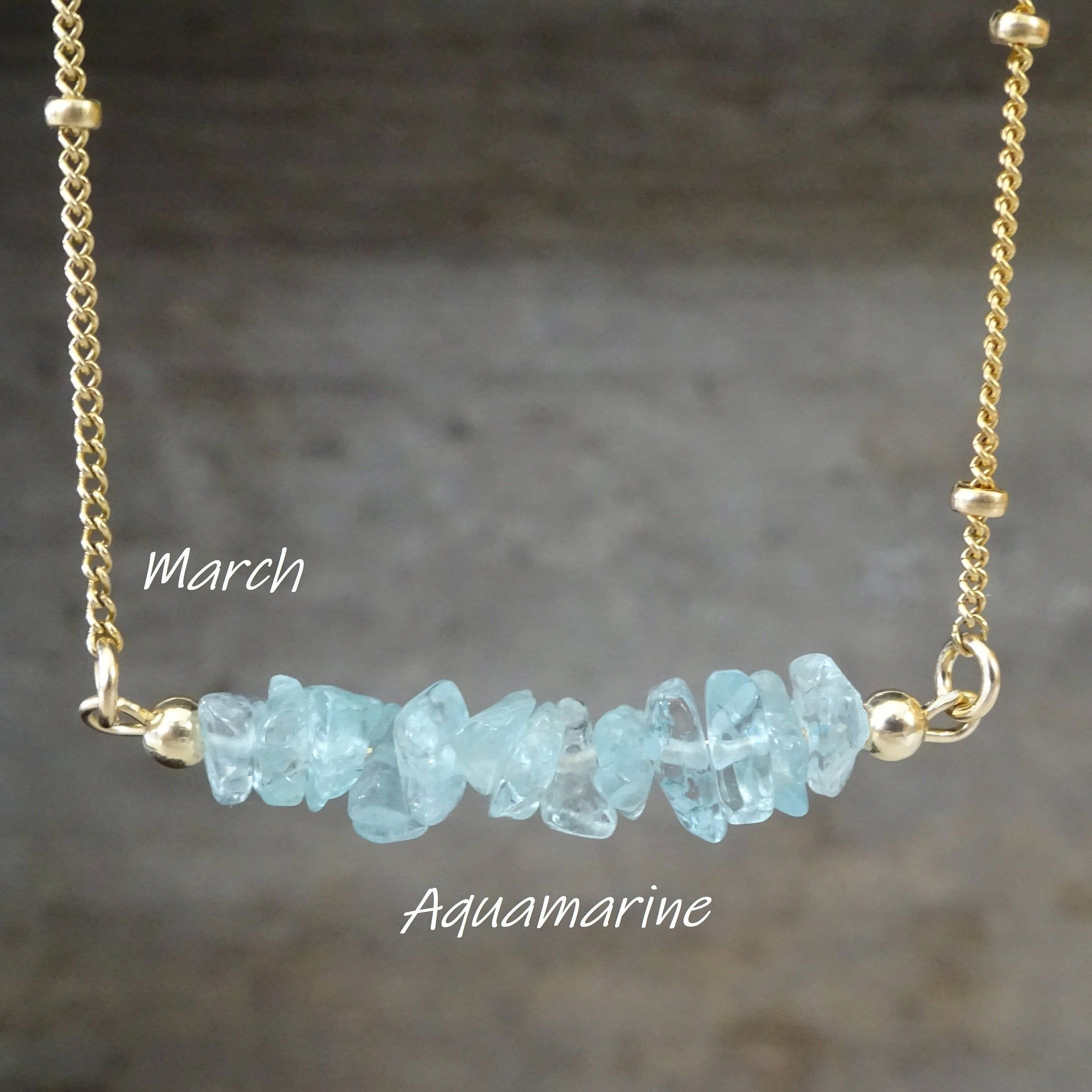 Photo of Aquamarine Raw Crystal Necklace, Pisces zodiac neckalce, March Birthstone ,Birthday Gifts, Natural Stone Pendant, Necklace for women