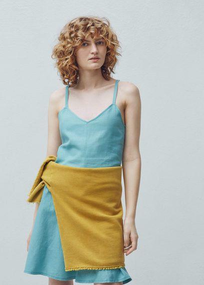 beb4c373aec Mango Outlet Linen strap dress