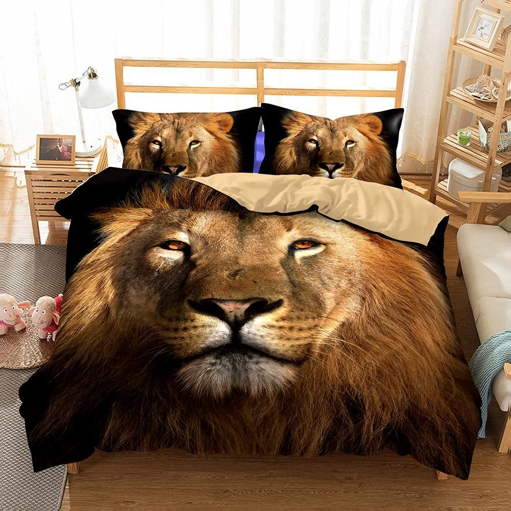 3d Animal Lion Printed Bedroom Pillows Bedding Queen Bed Sheets