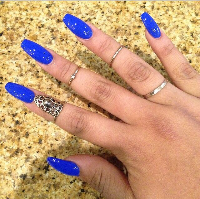 Neon blue coffin nails | Nails | Pinterest | Coffin nails, Neon and ...