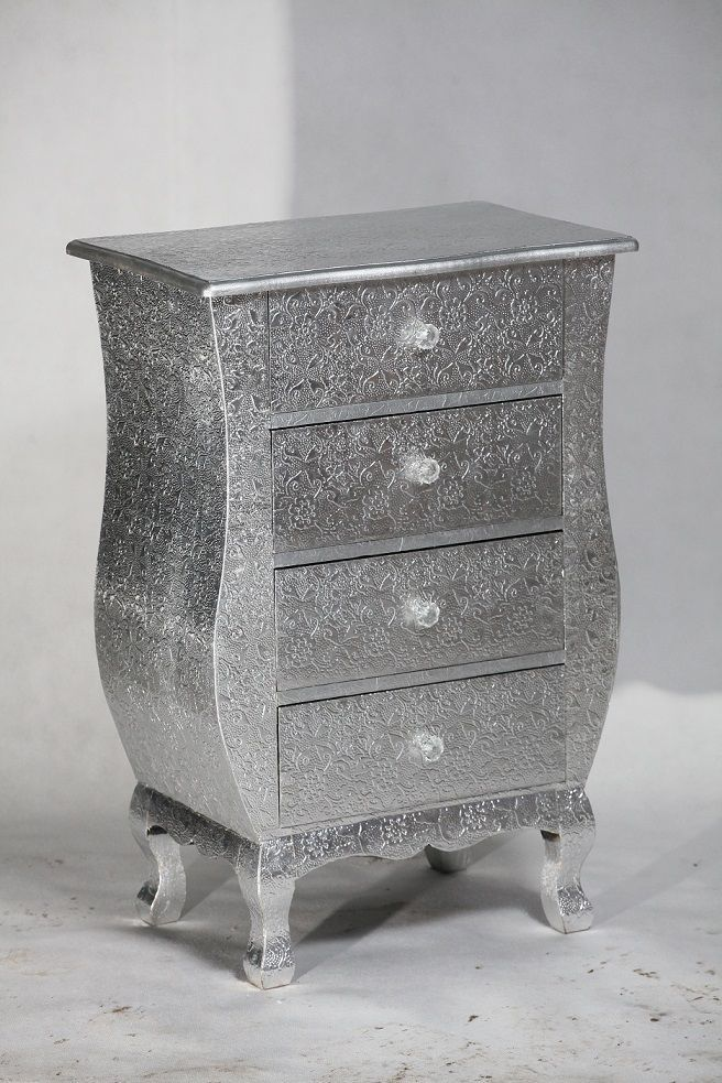 Details About Silver Embossed Metal 4 Drawer Bedside Table