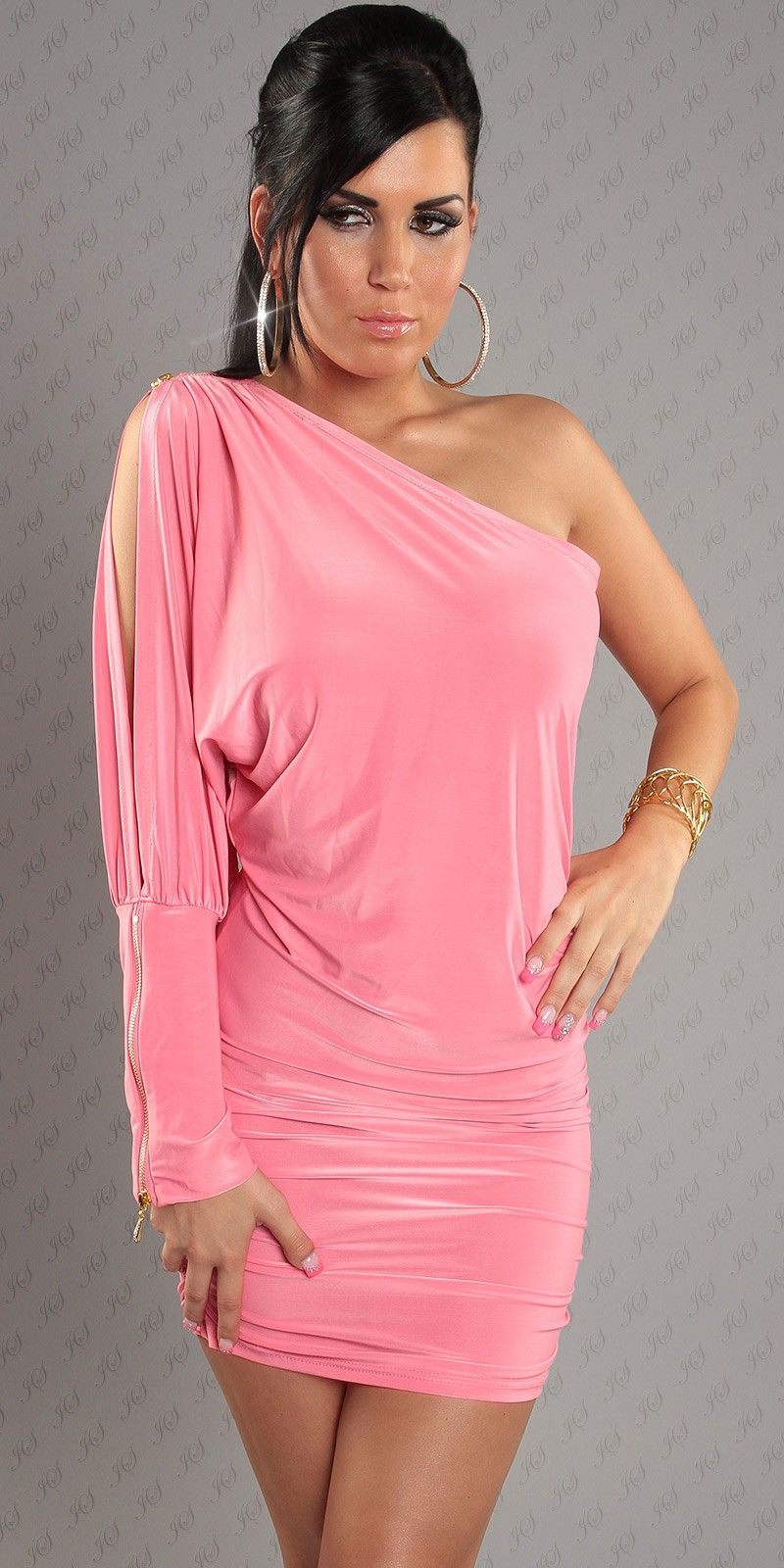 Name hot one cut out sleeve pure light pink dress item no wb