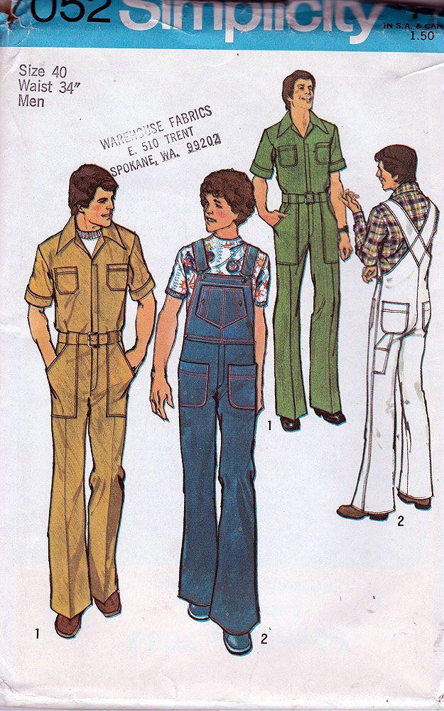 Simplicity 7052; ©1975; Men\'s Jumpsuit and Overalls; Size 40, Waist ...