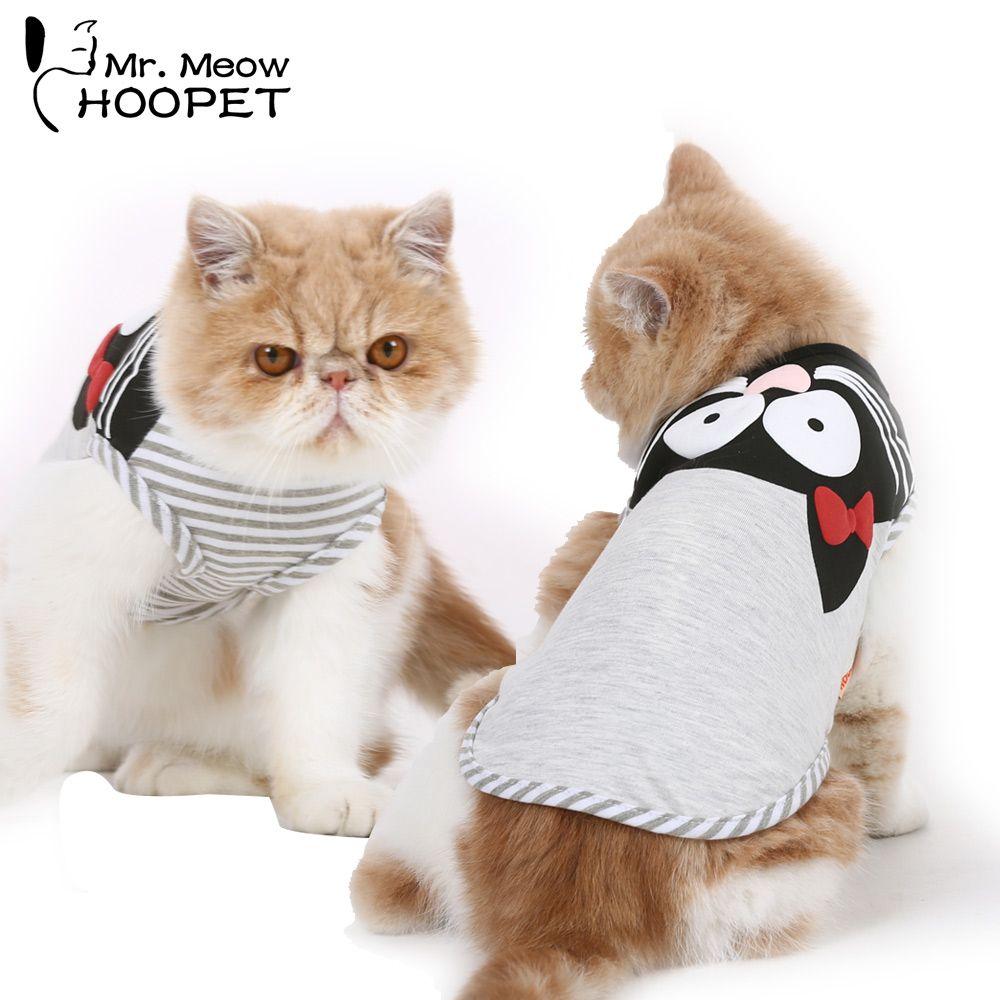 Pet Cat Clothes Gray Kitten Pattern Sleeveless Light Breathable