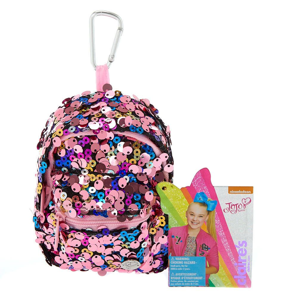 21424af62 Claire's JoJo Siwa™ Reverse Sequin Mini Backpack Keyring - Pink in ...