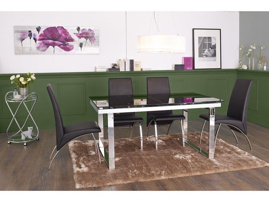 Explorez Table Extensible, Verre Trempé et plus encore ! Table extensible  CAGLIARI - verre trempé noir   chrome 846b6a56bbe9