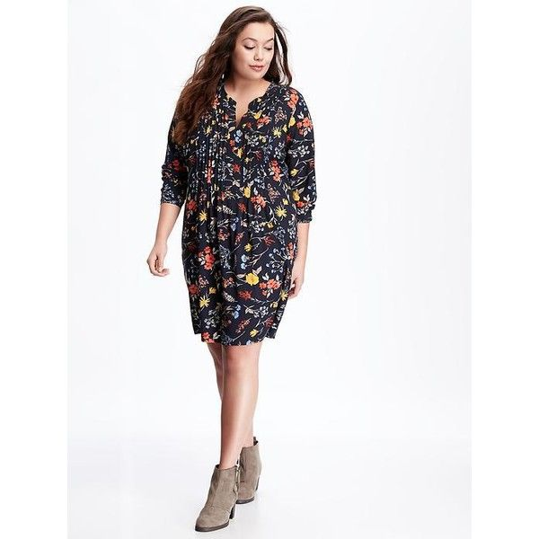 old navy printed plus size pintuck swing dress ($50) ❤ liked on