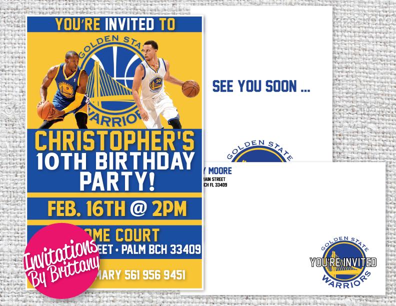 golden state warriors birthday invitation and matching envelope, Birthday invitations