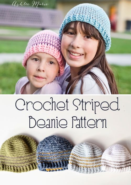 Crochet Striped Beanie Pattern- multiple sizes | Crochet Clothing ...