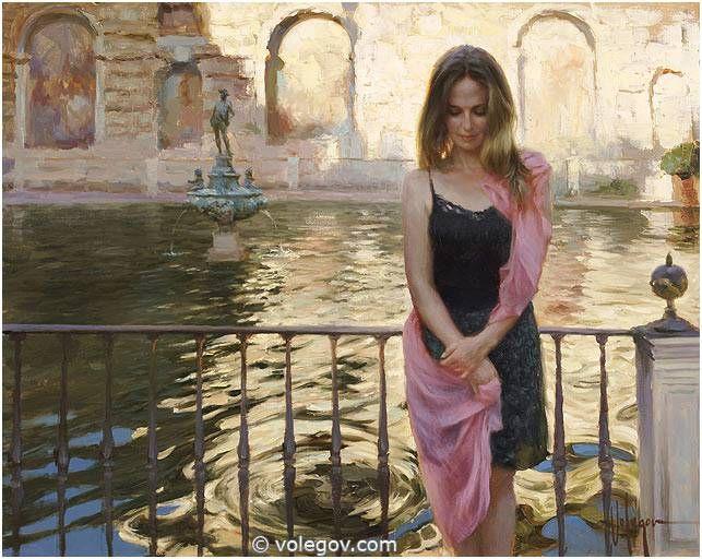 Volegov.com :: AT FOUNTAIN OF ALCAZAR, SEVILLA, painting,