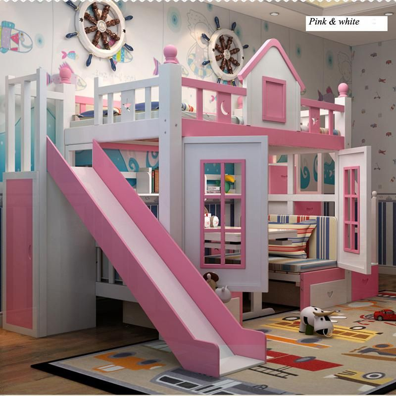0128tb006 Modern Children Bedroom Furniture Princess Castle With Slide Storages Cabinet Stairs Dou Princess Loft Bed Modern Kids Bedroom Kids Bedroom Furniture